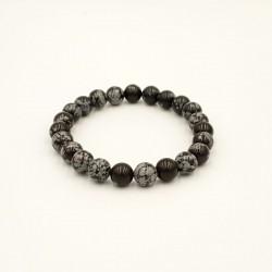 Bracelet Obsidienne flocons...