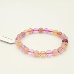 Collier tour de cou aluminium argent perles violettes et jaunes
